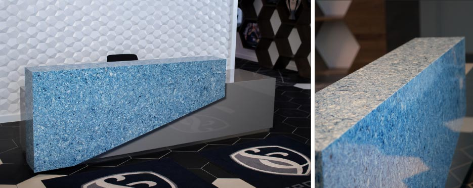 Detail and overview of Dekton/Silestone front desk created for Kansas City Sporting Club.