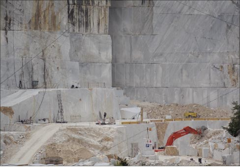Marble quarry in Carrara, Italy, a stone that's been quarried for over 2,000 years.