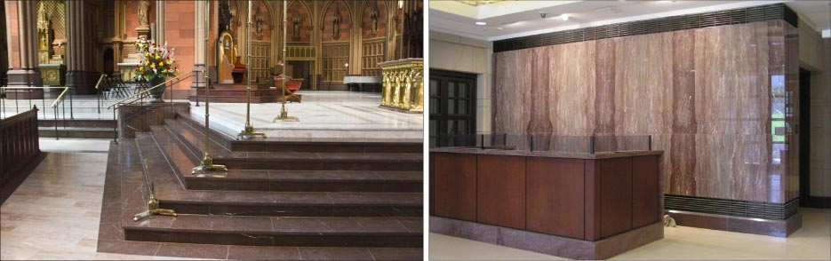 The Rose and Cedar varieties of Tennessee marble are the happy result just the right amount of iron oxide. Photos courtesy of Tennessee Marble