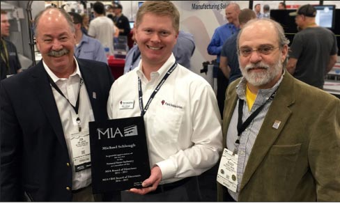 From left: Jon Lancto, Mike Schlough of Park Industries and Buddy Ontra. Schlough was recognized for his contributions to the MIA and NSI.