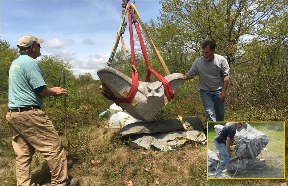 Andreas von Huene and colleague Dan Ucci (at left) installing Owl Rising at Laudholm Farm in Wells, Maine. Photo by Carolyn Broad. Inset: Roughing in Owl Rising with a chop saw.