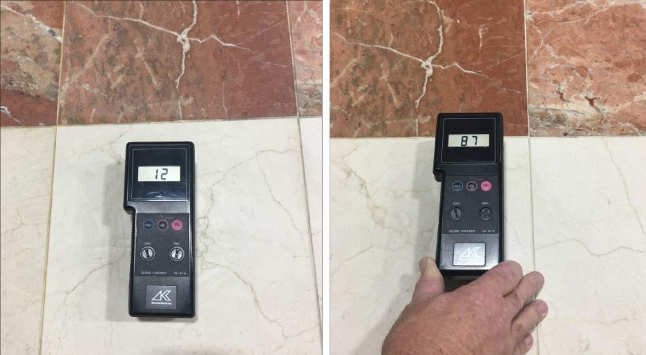 Before and after photos of gloss meter levels are a good way to demonstrate the effectiveness of your restoration polish. Be be sure to show the client the before and after numbers. This is a quantifiable way to show your work, and is not as subjective as just the visual appearance.