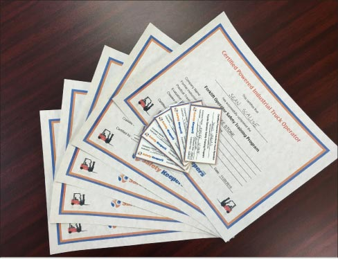 Safety Keepers provides company-specific forklift training completion certificates and license cards, good for three years.