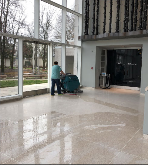 Striping and honing with a T-5 auto scrubber – a machine designed to cover a lot of surface area. An auto-scrubber is a good candidate for rental.