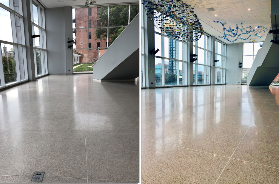 Above, Left: The KMA terrazzo floor, before the stripping, filling and honing process.  Above, Right: The restored and burnished terrazzo floor is again worthy of the art housed in the museum.
