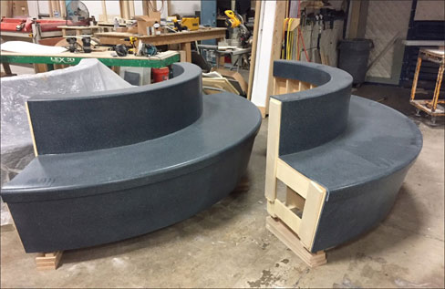 Thermoformed Corian benches fabricated for the newly remodeled Rochester International Airport.