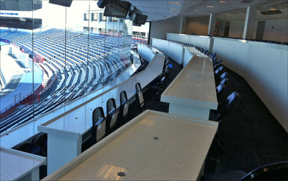 Commercial project for New Era Field, home of the Buffalo Bills, includes hard-wearing quartz tops for the sport commentator area and private boxes.