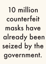 10 million counterfeit masks have  already been seized by the government.