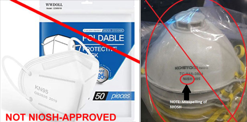 "Examples from the CDC.gov website cover several examples of foreign-made masks. Some may be advertised as meeting a ""KN95"" standard, substandard to the strict N95 NIOSH filtration standards. False claims of being NIOSH-approved are a separate but serious problem from the counterfeit 3M masks or approved masks."