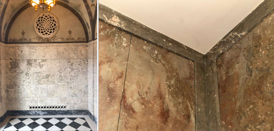 Above, left: Candoro entry hall with travertine walls, frescoes on stucco ceiling, and black and light marble floors all restored. Above, right: The repaired front office corners and walls, which had sustained cracking and separation issues due to water leakage under the foundation.