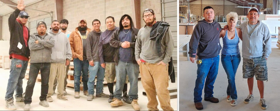 Above, left: the Gecko fabrication crew works within a safe and efficient wet production environment. Above, right: The Gecko install crew, heading out for the day.