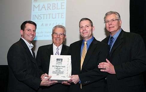 Paul Vigna, who spent over 50 years in the natural stone industry, accepted the award at the annual MIA Awards Luncheon held during StonExpo/Marmomacc Americas 2013 in Las Vegas, NV.