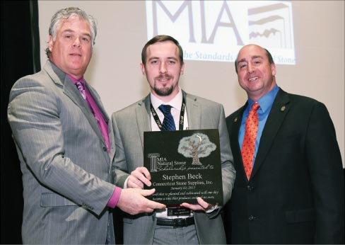 2015 MIA President Dan Rea (L) of Coldspring, sponsor of the 2014 Scholarship Award and 2014 MIA President Tony Malisani (R) of Malisani, Inc. presenting the 2014 MIA Natural Stone Scholarship Award to Stephen Beck of Connecticut Stone Supplies, Inc. in Milford, Ct.
