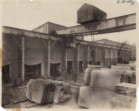 Phenix Quarry stoneyard and processing factory, circa 1924 photo.