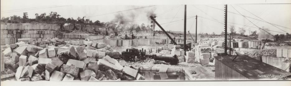 Phenix Quarry in Greene County, Missouri, circa 1920s. Photo panorama by B.F. Edmonson