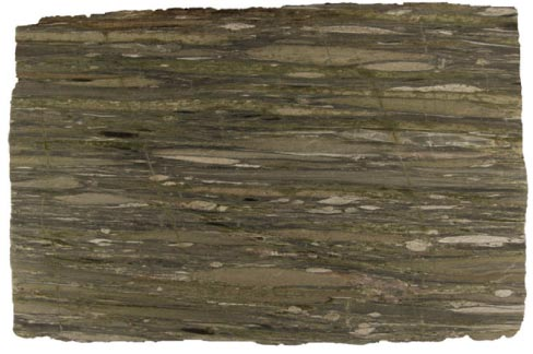 Waterfall Green is one exotic, spectacular stone that clearly reveals its geologic past. This full slab shows how much the  embedded quartzite pebbles have been stretched.