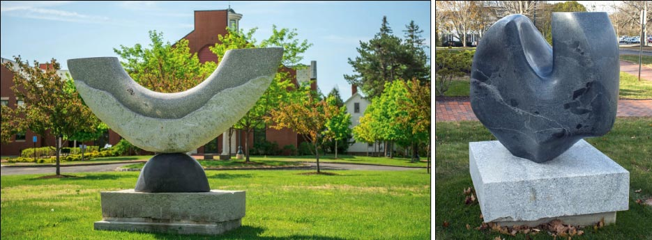 Above Left:  A New Dawn Created by artist  Johnny Turner of New Zealand, A New Dawn is one of three sculptures on campus carved during the 2012 Scoodic Symposium. Maine granite affixed to a basalt oval on a granite base.  Above Right: Rhino Artist: Hugh Lassen, Maine A gift to the Buchanan Alumni House from Hugh and Jenny Lassen as part of the Littlefield Gallery Sculptor-in-Residence Program, Rhino was created from granite excavated from the Lassens' blueberry field.