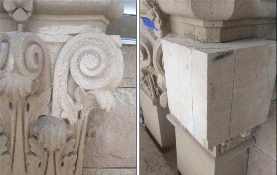 A dutchman block in place; And a restored, hand-carved capital.