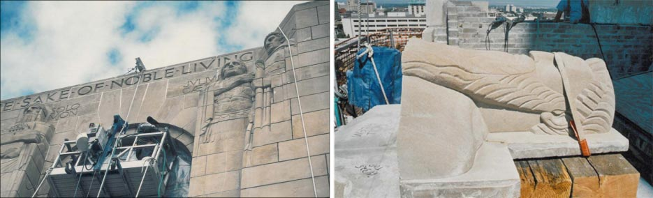 This restoration job included repairs on the tower, cleaning the façade, removal and repair of sections of the large Art Deco figures adorning the structure, and more.