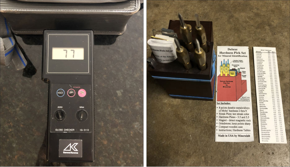 Above, Left: My Gloss Meter is especially useful when I consult on a project where a polish or higher hone is present. This instrument gives both you and the customer a reference point and goal for the project.  Above, Right: My Deluxe Hardness Tester set includes picks at various harnesses, mainly for testing minerals in concrete. Concrete hardness depends on what type of rock went into the matrix – and will affect how it polishes.