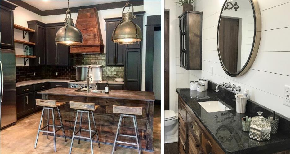 Above, Left: This rustic, industrial-look kitchen features Dekton Trilium on the island and Caesarstone Raw Concrete countertops.   Above, Right: Coffee Brown Granite vanity with a chiseled edge graces a master bath.