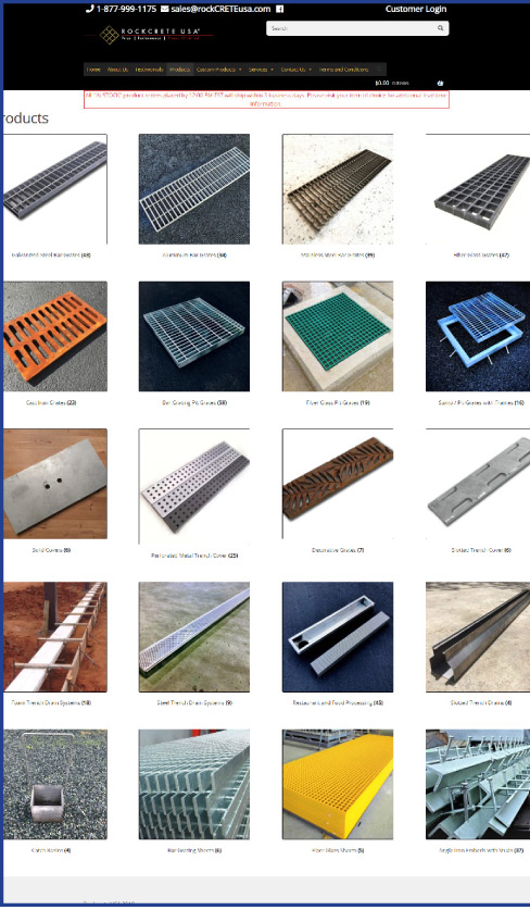 Product page from the Rockcrete USA website displays a wide selection of options, gives customers the option to shop for a system online.