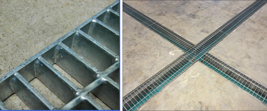 Heavy-duty hot dip galvanized grates are used for pit covers and the Mega-Max trench drain system.