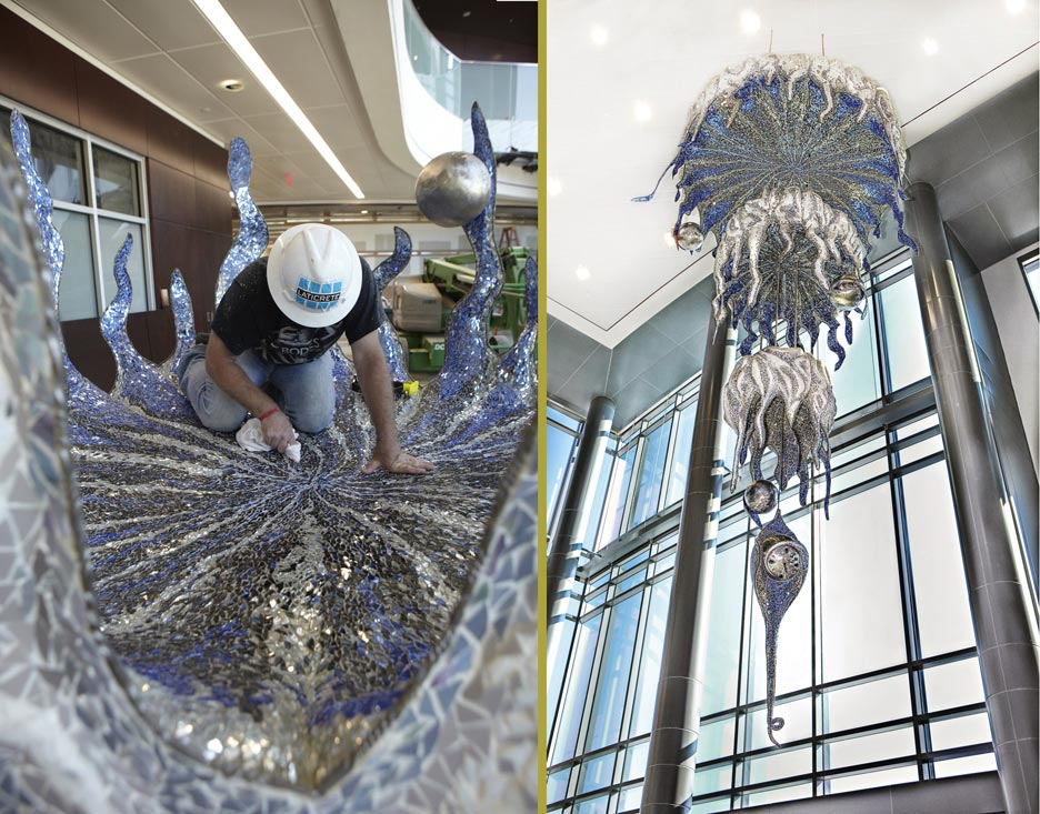 "Augusta, Georgia mosaicist, Paul Pearman, won the Juror's Choice Award for his incredibly innovative, multi-tiered chandelier, ""The Four Stages of Higher Learning,"""