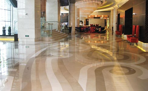 This inspiring marble floor plan created by Annie Aalto, graces the entryway of the Renaissance Hotel in Shanghai, China.