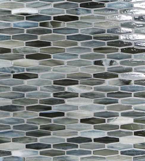 "Stone & Pewter Accents has created a state-of-the-art mosaic glass tile collection named ""Agate,"" with a look amazingly similar to natural layered silica created by volcanic stone formations."