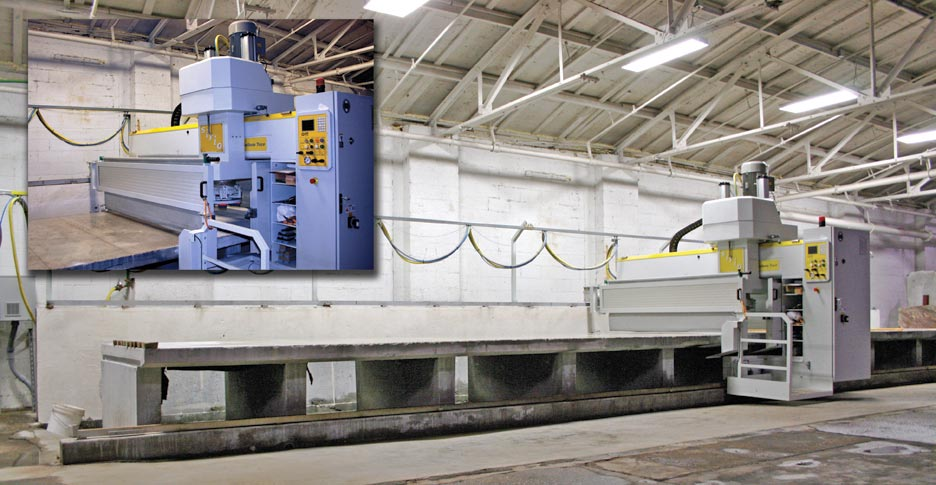 The Marmo Meccanica SIRO Polisher is the newest addition to the family. It is the largest slab polisher in North America. The SIRO can polish up to 4 full slabs at a time.