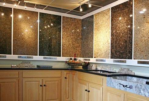 One of the many display areas at Webco features an array of exotic and popular granite slab samples. The business serves eastern Tennessee, northern Alabama and Georgia, western South Carolina, eastern North Carolina, and southern Virginia and Kentucky.