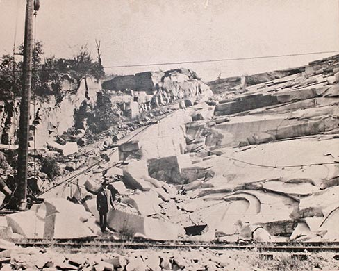 "Oglesby Quarry pictured in 1916. Owned by Oglesby Granite Company. Originally called ""Four Mile Quarry"" because it was located four miles from Elberton."