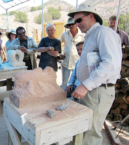 Anthony Lazzaro (New Mexico) talks about the challenges of carving his project during the class review, 2013 session.