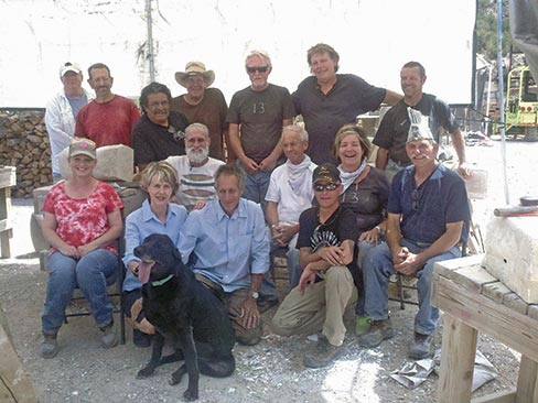 Session 2, 2013. Back row (standing), left to right: Kevin Smith (TN), Peter Garrett (IL), Benjamin Lopez - Guest Artist (NM), John Loukonen (CO), Ron Klinger (TX), Scott Barnhill (KY), Petro Hul - Staff (AZ). Middle row (seated), left to right: Kate Valiant (CO), Steve Dunlap (NM), Eddie Miller (NM), Annie Whiteside (GA), Fred X. Brownstein – Guest Instructor (VT). Front row (kneeling), left to right: Betsy Williams, mascot black lab Morton, Mark Saxe, and Josh Loukonen (CO) (with sunglasses). Not pictured: Benito Trujillo - Staff (NM).
