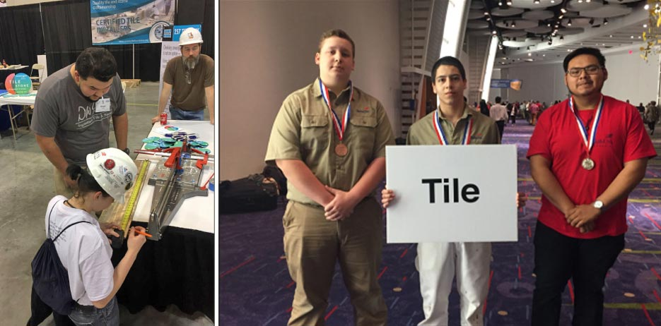 above, Left: Focusing on installation Above, Right: The competition winners (l. to r.): Nathaniel Selby, Shaw High School, third place; Martin Sanchez, Griffin High School, first place; Christian Mendoza, Kennesaw Mountain High School, second place.