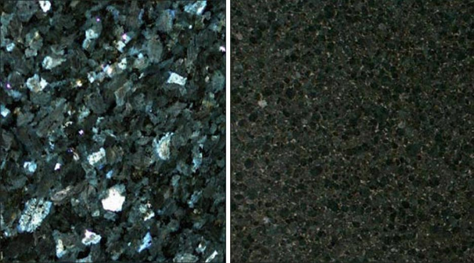 Above, Left: Emerald Pearl Granite from Norway  Above, Right: Verde Butterfly Granite