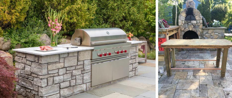 Working wood-fired fieldstone oven & rustic limestone slab tables.  Left and Left Center:Photos courtesy Plymouth Quarries