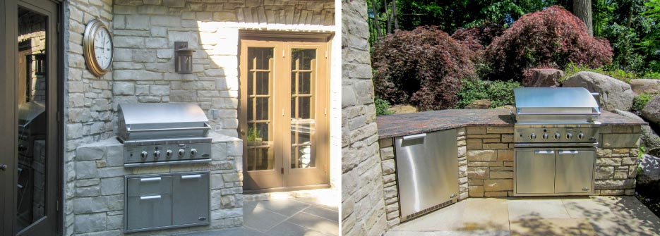Above, left: The matching fieldstone wrap for this built-in grill and refrigerator makes this outdoor kitchen an extension of the house and creates a unified space.
