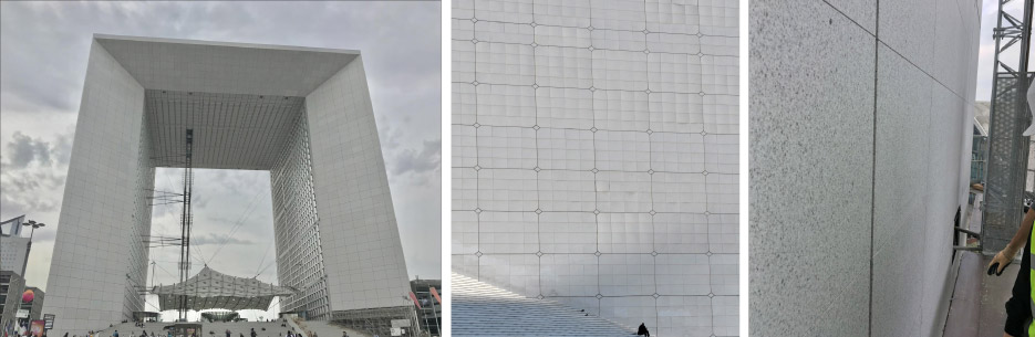 The stairs at the foot of the arch have become a popular place for office workers to sit and eat their lunch while overlooking Paris. Above, middle: Only a few years after the Grande Arche de la Défense was built, the white Italian Carrara marble on its facade began to deteriorate. Above, right: A close-up view of Bethel White granite shows how the pinhead taupe grains are slightly visible but from a distance visual blending registers the surface as a pure white.