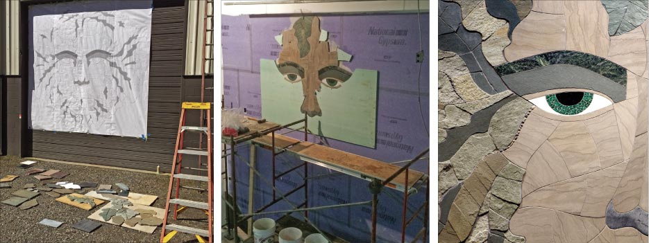 Materials Used and Quarry Locations for this Project: • The skin tones of the face are made of Quaker Gray from the Tennessee Marble Company. • The eyebrows are serpentine salvaged from a scrap pile.  • The leaves are made of several different stones, including Emerald Gray, which is native to North Carolina. There's also green slate salvaged from a old house in Asheville, some full-color Pennsylvania stone, and other bits and bobs found here and there.