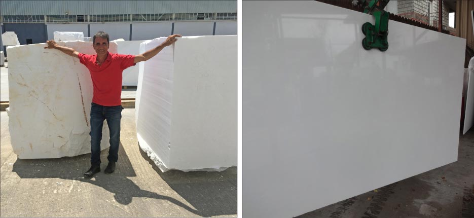 Above left: Nick Politis selects Thassos blocks on one of his yearly  buying trips to visit Thassos quarries and factories in Greece. Above, right: Thassos White slab from the Eurostone warehouse in Houston, TX.