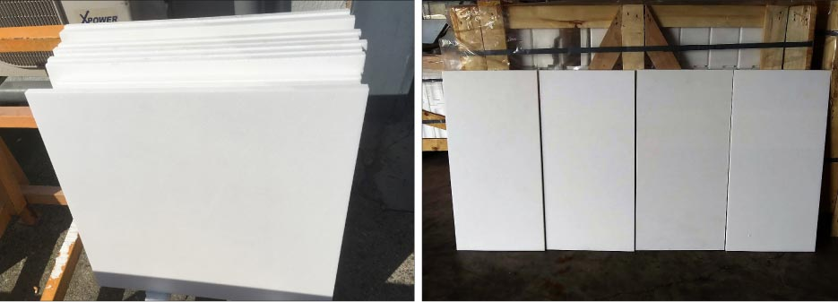 Production of 24 x 24 Thassos White tiles, and 12 x 24 honed tiles (above, right).  Most materials are cut to size at the factory and containerized.