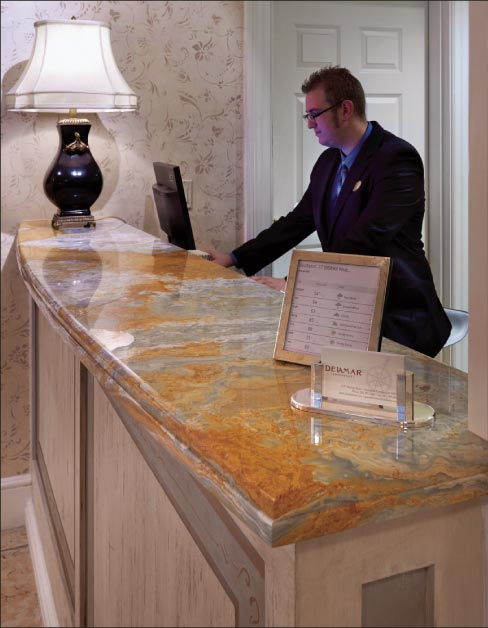 This long, curving onyx counter is installed at the famous Delamar Hotel in Greenwich, CT.