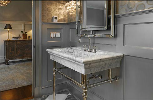 This solid marble sink / vanity top takes washstands to a whole new level.