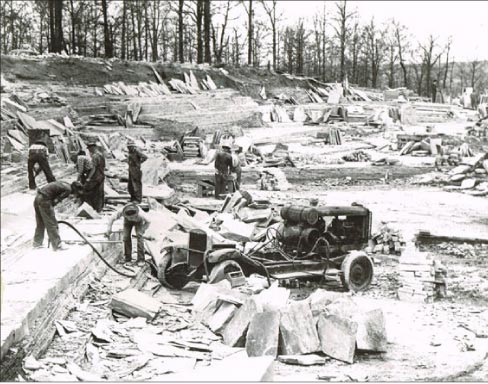 Archive photo shows methods used in the early days to quarry Crab Orchard ledgestone in Cumberland County, Tennessee.