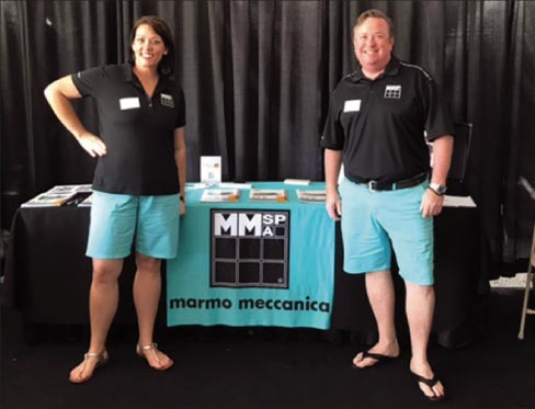 "Chantel Rozenberg and Steve Collick of Marmo Meccanica. Steve: ""When I'm at the trade shows, one of the greatest things is when I've got a customer looking at a machine and a previous customer walks by and says, 'I own one and if you don't buy it you're crazy!"""