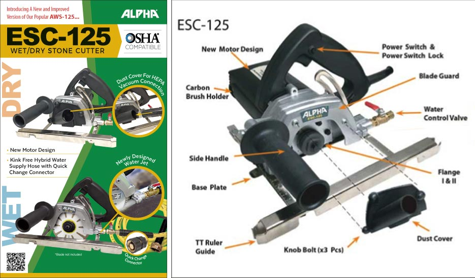 The new Alpha® ESC-125 incorporates wet and dry cutting features for maximum safe flexibility in cutting stone.