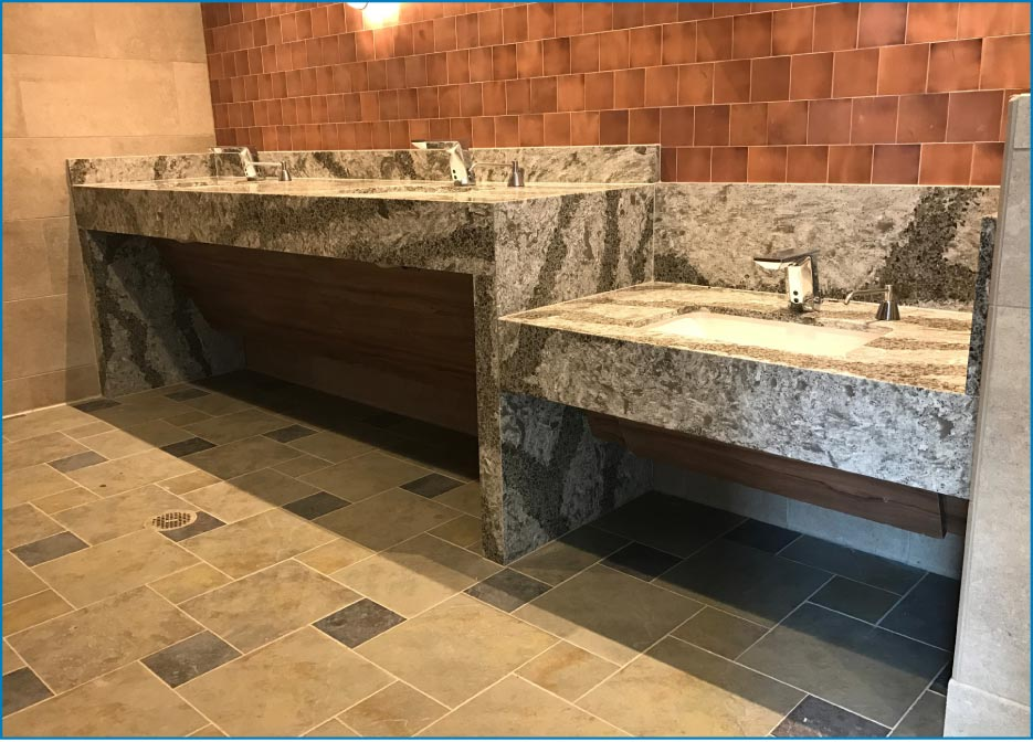 Handicap accessible vanity at the Disney World Wilderness Lodge in Orlando, Florida. NSMotif has completed large commercial projects for Disney World, including kitchens and bathrooms at the Wilderness Lodge.