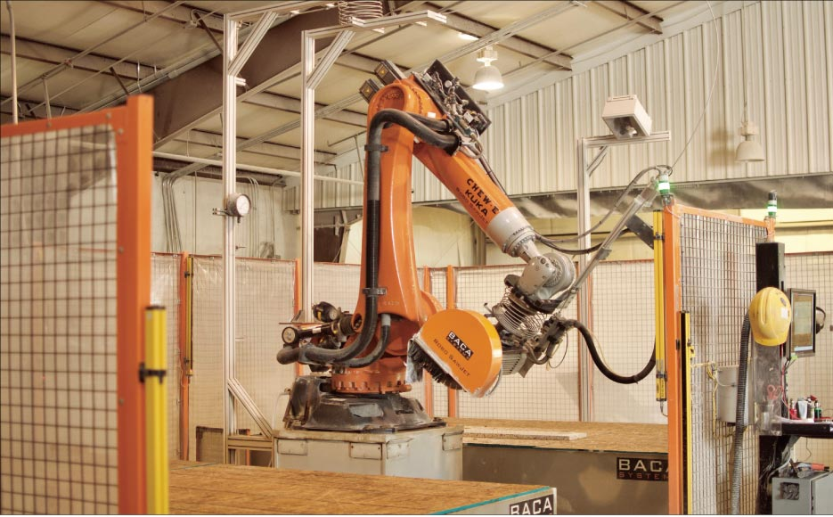 NSMotif's dual-table BACA Systems Robo Sawjet, which employees helped name Chew-E-Baca, provides better efficiency and accuracy for surfacing projects.